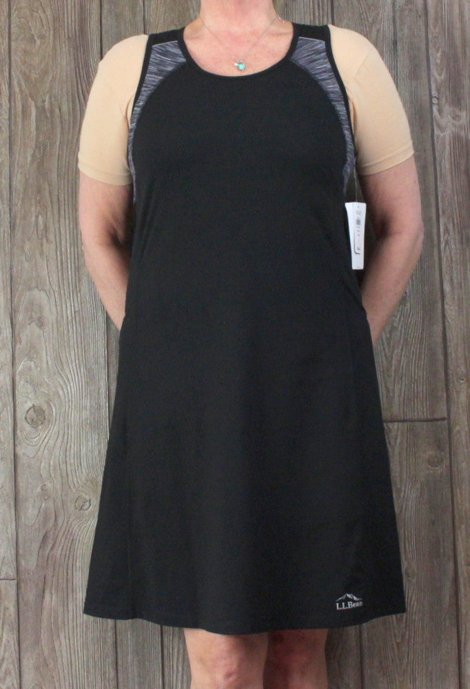 Nice LL Bean Dress L size New Black Active Wear Tank Chest Support Stretch Womens