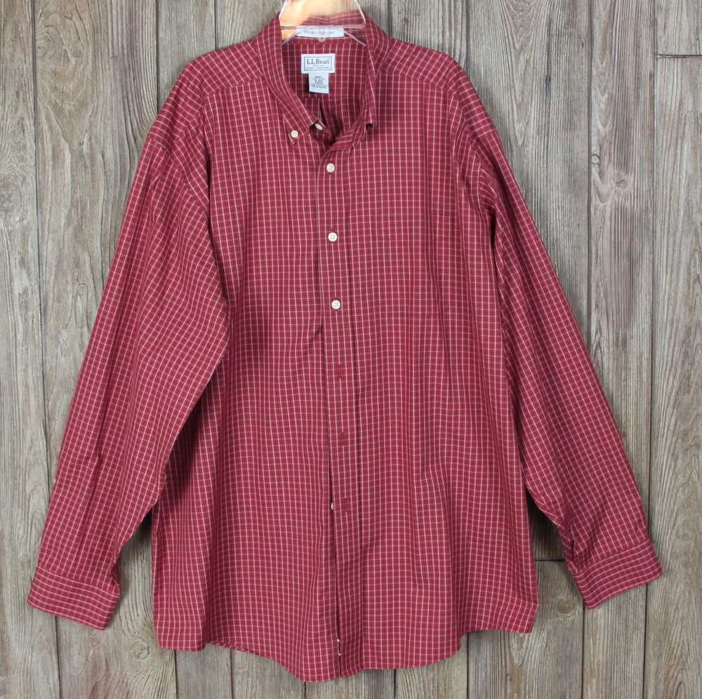 Nice Mens LL Bean XL sz Shirt Rust Check Button Down Wrinkle Resistant Career Casual