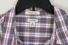 Nice LL Bean XL Petite XLP Blouse Red Blue Green Plaid Wrinkle Free