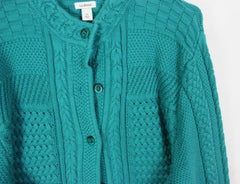 Nice LL Bean Cardigan Sweater 3x size Teal Blue Cotton