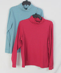 Nice LL Bean XL Turtleneck Tops Blue Pink Cotton 2pc Womens