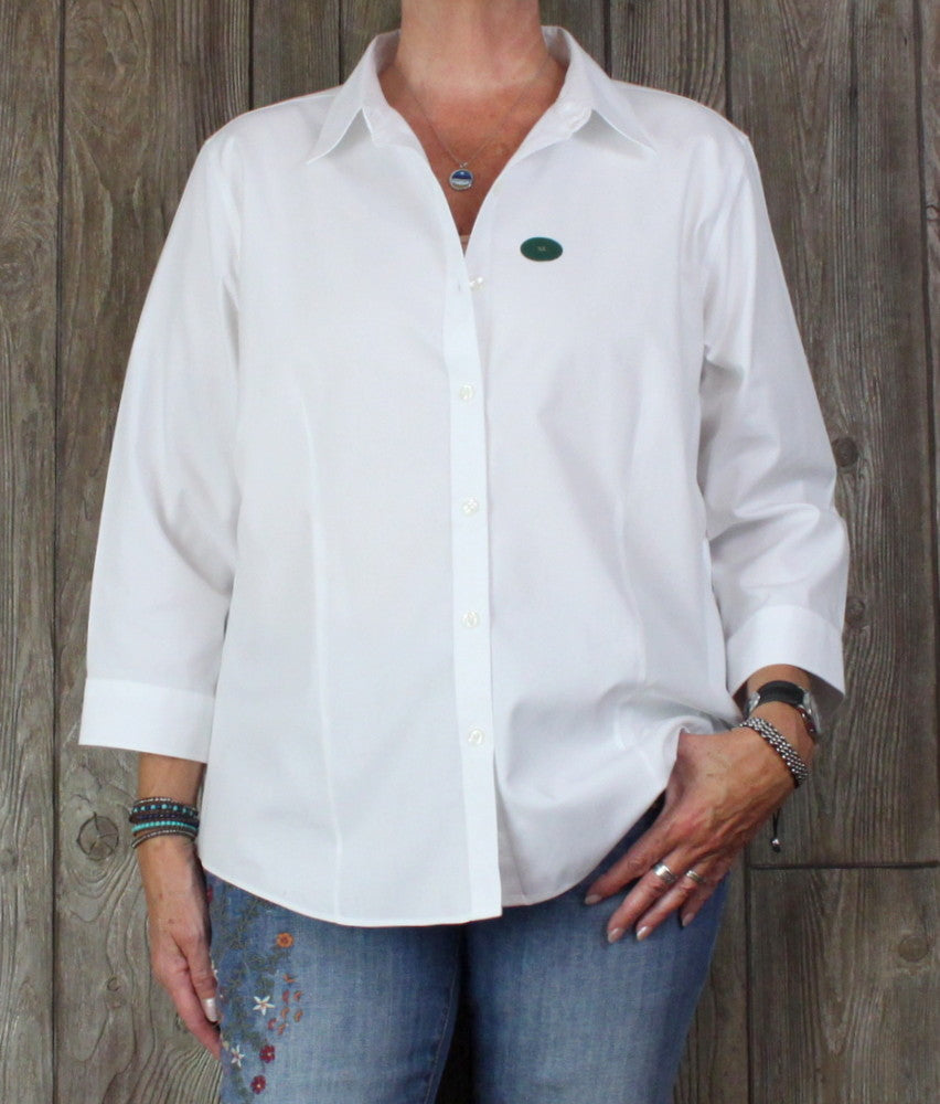 New LL Bean XL size Blouse White Wrinkle Resistant Womens Top