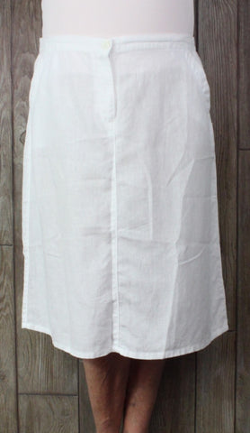Nice LL Bean Linen Skirt 18 Petite 18p size White Classic Fit