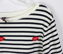 Cute Betsey Johnson Top 2x size Ivory Blue Red Embroidered Lips