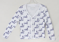 Super Cute 2 a tee White Blue Bike Cardigan Sweater M Petite PM size Cotton - Jamies Closet - 3