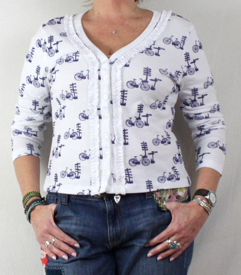 Super Cute 2 a tee White Blue Bike Cardigan Sweater M Petite PM size Cotton - Jamies Closet - 1