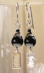 New Cute Hand Made in the USA Sterling Silver Black Glass Bead Drop Earrings - Jamies Closet - 1
