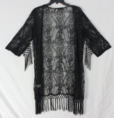 Black Lace Shirt Jacket L XL size Ying Ying Open Front Tassled Hem Sleeve Womens