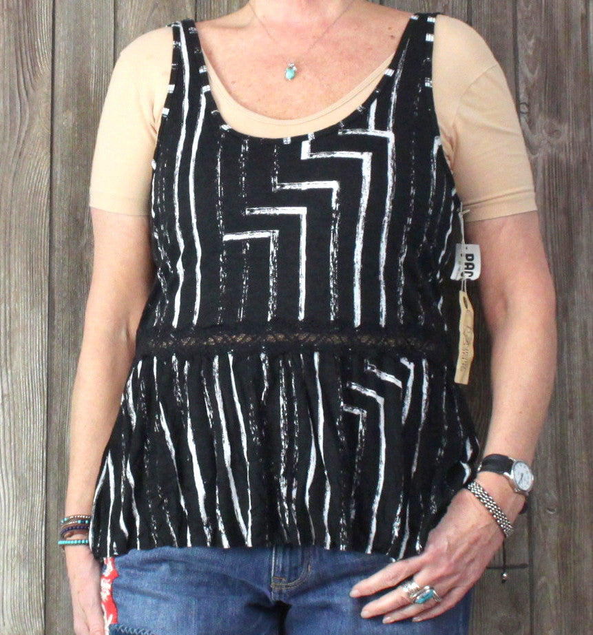 Seneca Rising Tank Top L size New Black White Soft Jersey Lace Accent Vacation