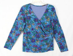 Cute Blue Floral Blouse L XL size Womens Wrap Vneck Career Casual Vacation Top