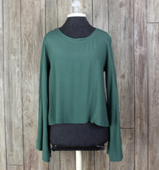 Cute BP Big Bell Sleeve Blouse M size Green Aline Top