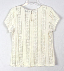 Cute CAbi L size Ivory Lace Blouse Textured Romantic Stretch Top Career Casual