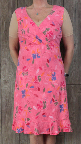 Icantoo Dress L size Pink Floral Cotton Tank Vacation Womens Wrap Neckline Comfy