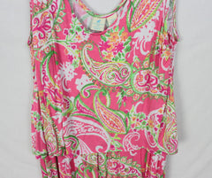 Soft Caribbean Joe Dress 2x size Pink Green White Floral Womens Stretch Beachy