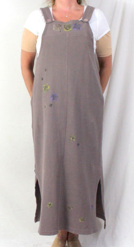 Chalet M size Jumper Dress Taupe Painted Heavy Cotton All Season Comfort - Jamies Closet - 1
