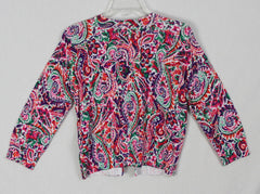 Cute New Chaps Cardigan Sweater M size Multi Color Paisley Lightweight Cotton