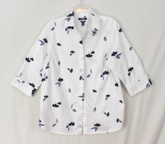 Pretty Chaps 1x size Blouse White Blue Floral Top Womens Work Casual No Iron