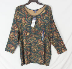 New Chaps Top 3x size Green Teal Wine Floral Top