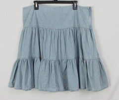 Cute Chaps Denim Skirt 16 XL size Tiered Blue Denim