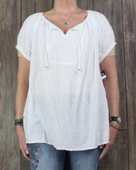 New Chaps Blouse 1x size White Lightweight Gauze
