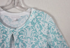 Pretty Charter Club Cardigan Sweater L size Light Blue White Floral Womens Soft & Stretch