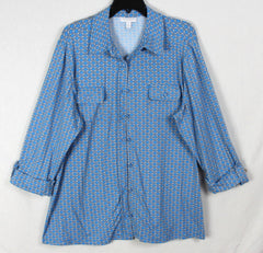 Nice Charter Club Blouse 2x size Blue Gray Stretch Womens Top Plus Work Casual Shirt
