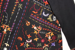Cute Chicos 2 L size Blouse Womens Black Multi Color Embroidered Top