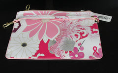 New CHICOS Pink Floral Printed Zip Top Thin Travel Makeup Pouch $39.50