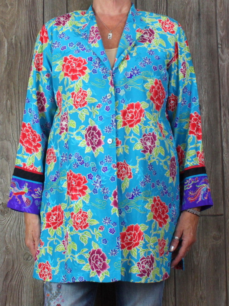Pretty Chicos Blouse 2 L XL size Blue Floral Silk