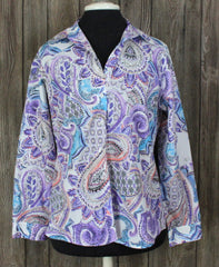 Nice Chicos 0 S XS size Blouse Purple Blue Floral Top Womens No Iron