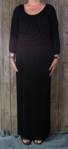 New Chicos Peasant Maxi Dress 2 L XL size Black Long Soft Stretch