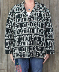 Cute Chicos 2 L XL sz Southwest Western Blanket Jacket Black Off White Cotton