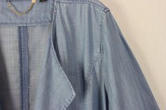 Nice Chicos Black Label Duster Top 2 L M size Denim Blue Open Front