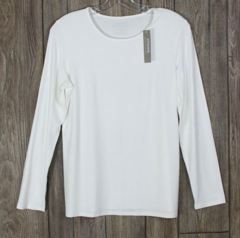 New Chicos Long Sleeve Top 0 S size Ivory Tee Shirt Womens Soft Work Casual $34