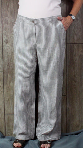 New Chicos Linen Pants Wide Leg 2.5 38 waist size Womens Gray White Stripe
