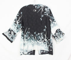 New Very Pretty Citron Santa Monica Blouse L size Black Gray Blue Floral Top
