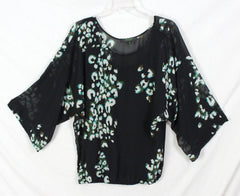 Pretty Poeme by Citron Blouse M size Black Blue Green Sheer Top Over Tank Womens