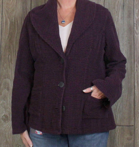 Cute CMC Color Me Cotton Cardigan Sweater Coat L size Purple Plum Textured Womens