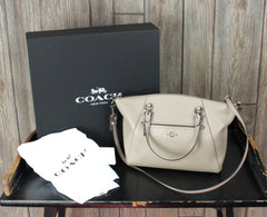 Authentic Coach Prairie Satchel E1781- 58874 Taupe Beige Box Dust Cover 1 owner
