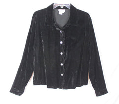 Pretty Coldwater Creek XL size Black Velvet Blouse Womens With Ruffle Detail