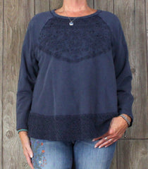 Cute Casual New Coldwater Creek Blouse XL Petite Sz Indigo Blue