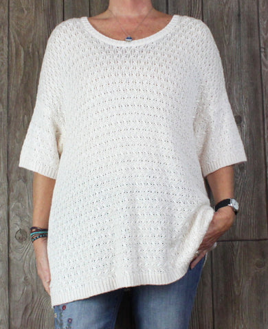 New Coldwater Creek Sweater 2x 20 22 size Ivory Soft Stretch Top Womens