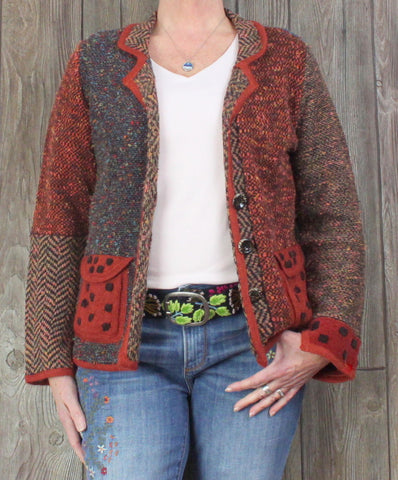 Cute Coldwater Creek Cardigan Sweater L size Rust Blue Multi Color Artsy