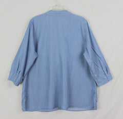 Coldwater Creek Blouse 1x sz Light Blue Sunwashed Tencel Top Womens Plus