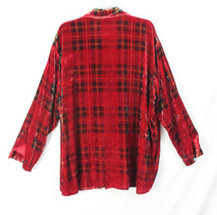 Nice Coldwater Creek Blouse 3x size Red Plaid Velour