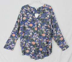 New Como Blu Blouse 1x size Blue White Floral Top Womens Plus Lightweight Shirt