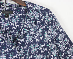 Cute J Crew Blouse 14 L size Navy Blue Gray Deer Trees Womens Top