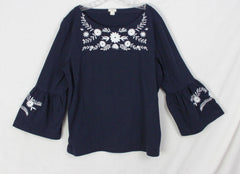 Cute J Crew XL size Blouse Navy Blue White Embroidered Floral Womens Hippy Boho