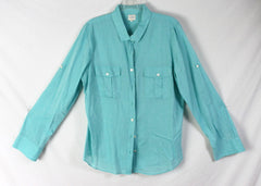 Nice J Crew XL size Blouse Light Blue Lightweight Casual Comfortable Perfect Shirt - Jamies Closet - 3