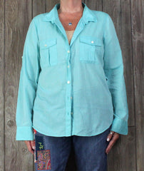 Nice J Crew XL size Blouse Light Blue Lightweight Casual Comfortable Cotton Shirt